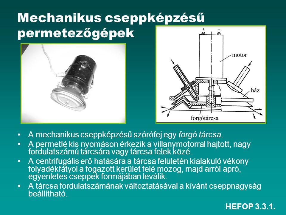 Mechanikus cseppképzésű permetezőgépek