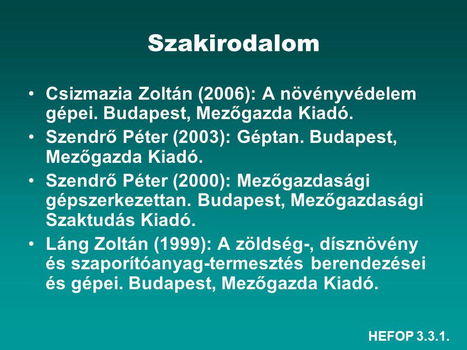 Szakirodalom Csizmazia Zoltán (2006): A növényvédelem gépei. Budapest, Mezőgazda Kiadó. Szendrő Péter (2003): Géptan. Budapest, Mezőgazda Kiadó.