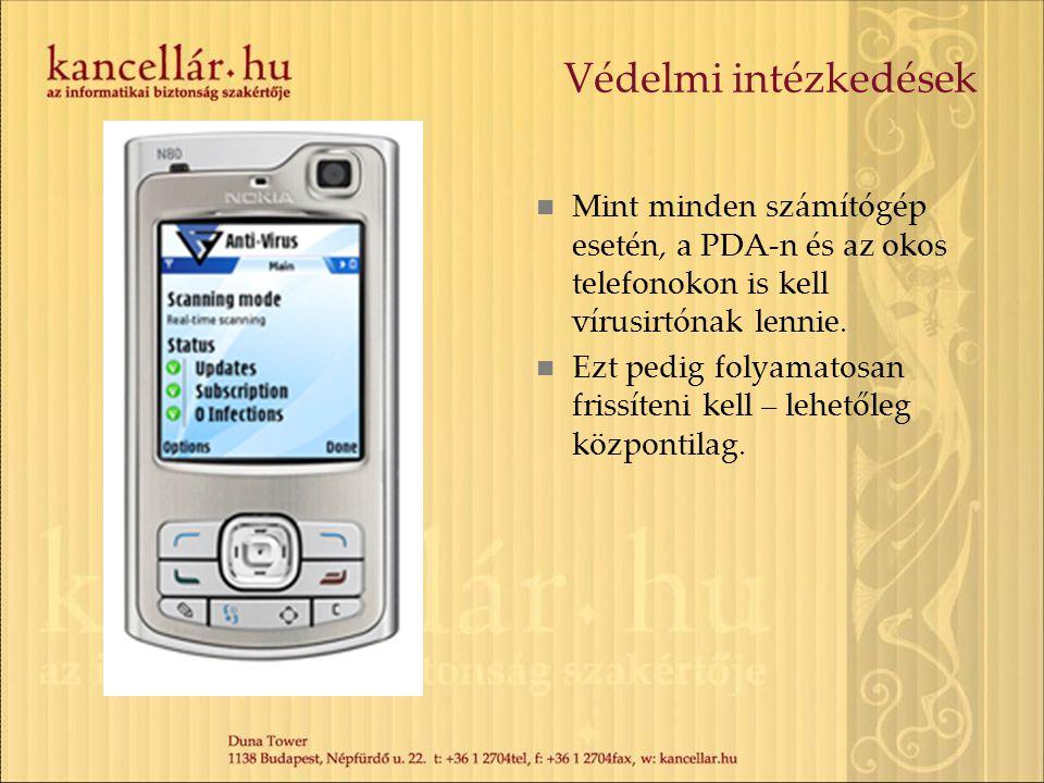 Védelmi intézkedések Mint minden számítógép esetén, a PDA-n és az okos telefonokon is kell vírusirtónak lennie.