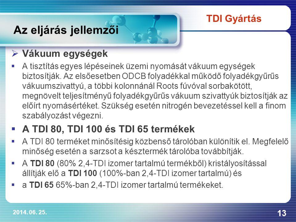 Az eljárás jellemzői TDI Gyártás Vákuum egységek