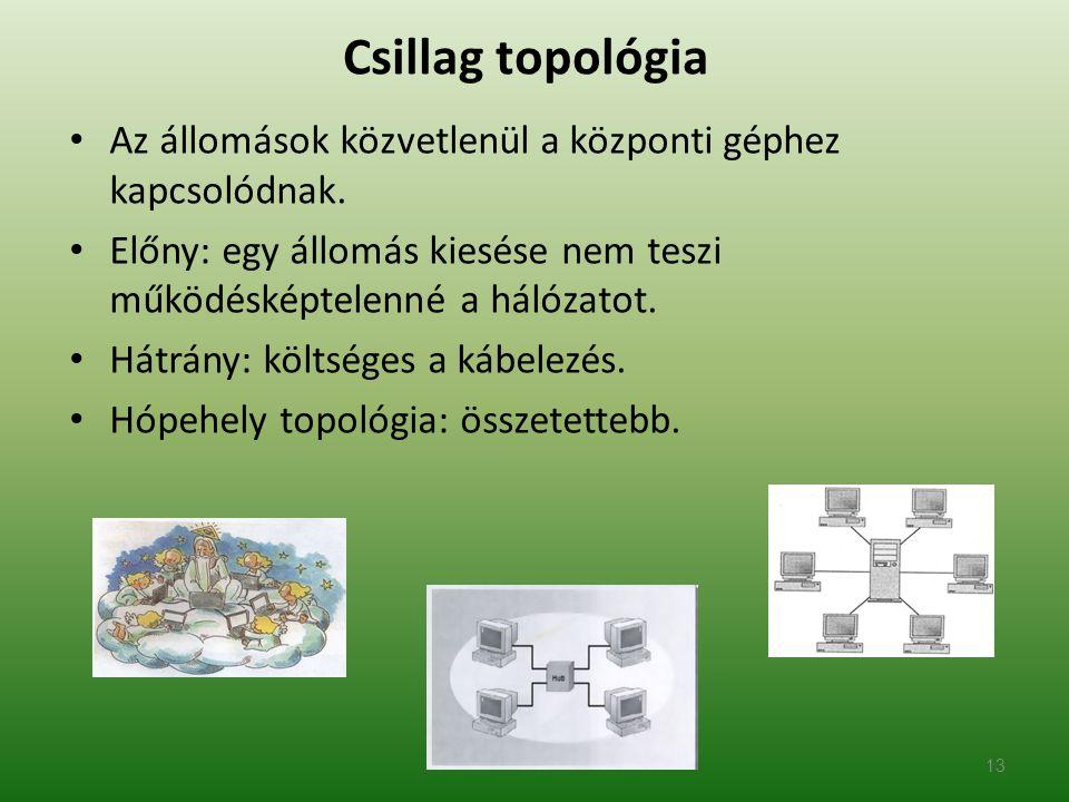 Csillag topológia Az állomások közvetlenül a központi géphez kapcsolódnak. Előny: egy állomás kiesése nem teszi működésképtelenné a hálózatot.