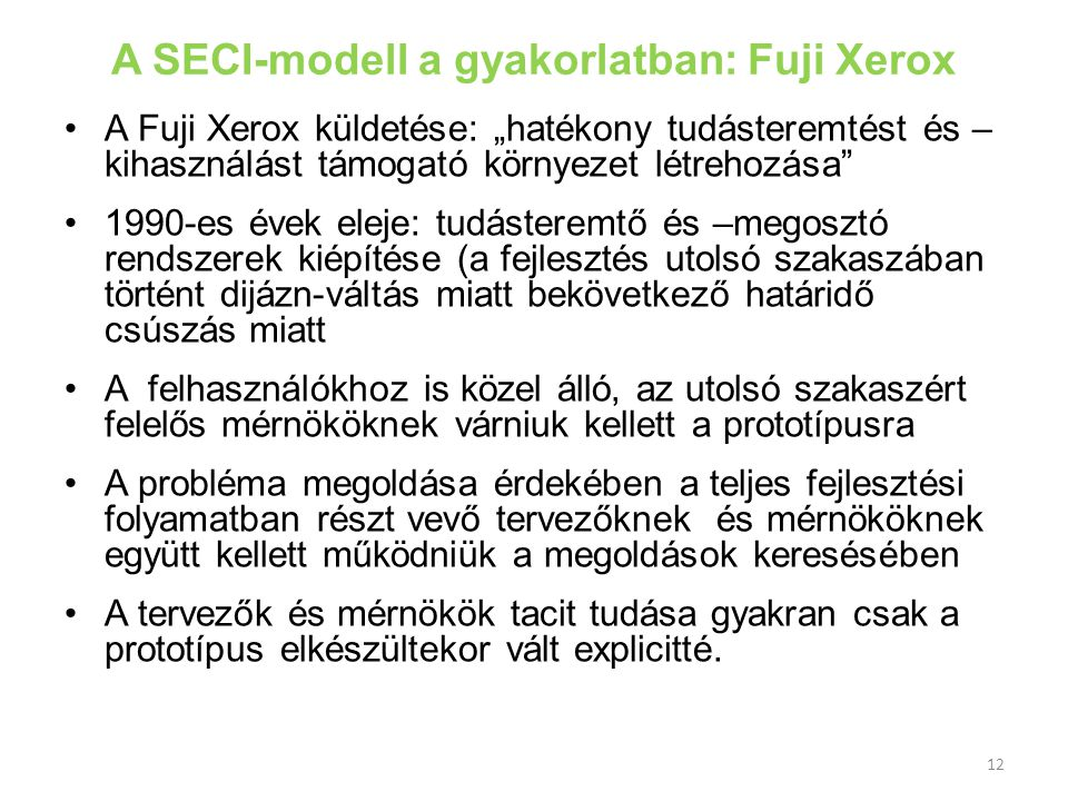 A SECI-modell a gyakorlatban: Fuji Xerox