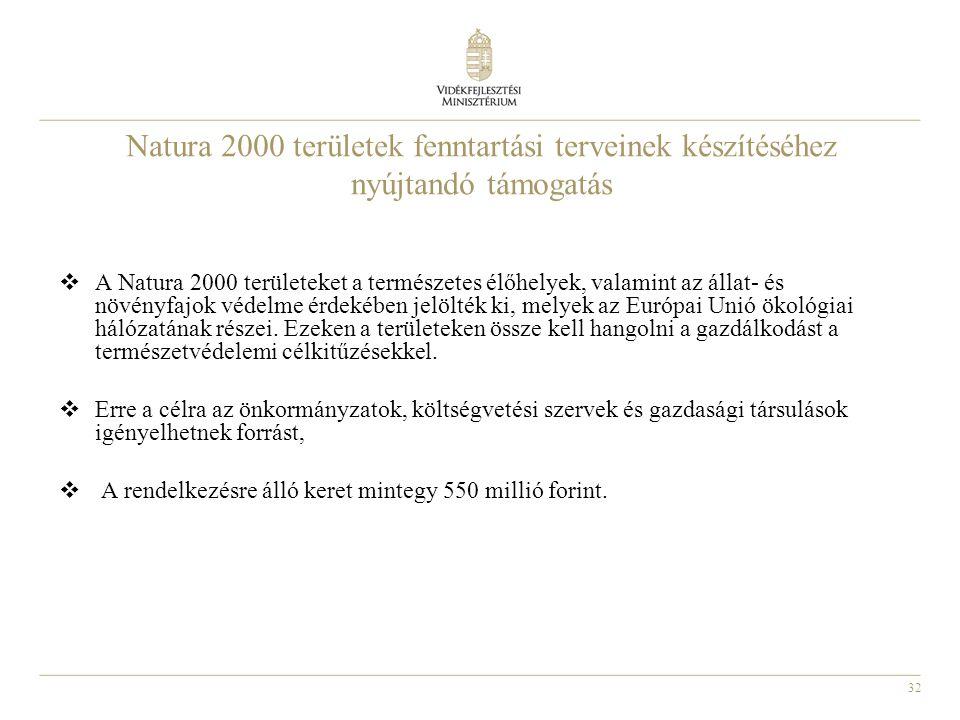 Natura 2000 területek fenntartási terveinek készítéséhez nyújtandó támogatás