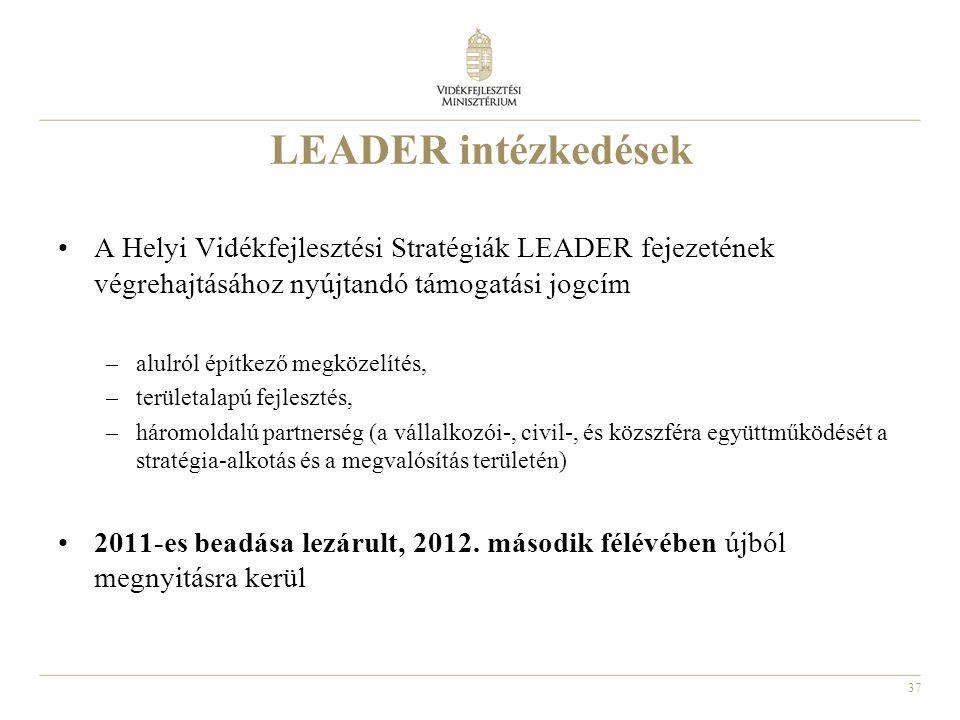 LEADER intézkedések A Helyi Vidékfejlesztési Stratégiák LEADER fejezetének végrehajtásához nyújtandó támogatási jogcím.