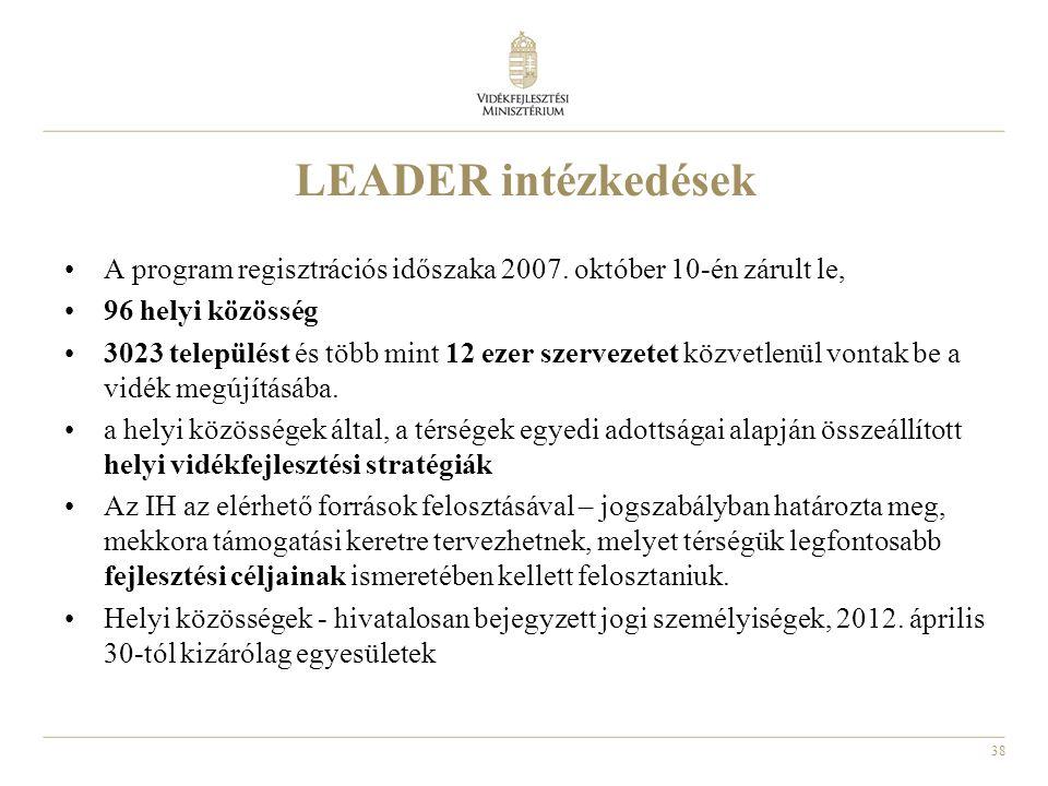 LEADER intézkedések A program regisztrációs időszaka 2007. október 10-én zárult le, 96 helyi közösség.