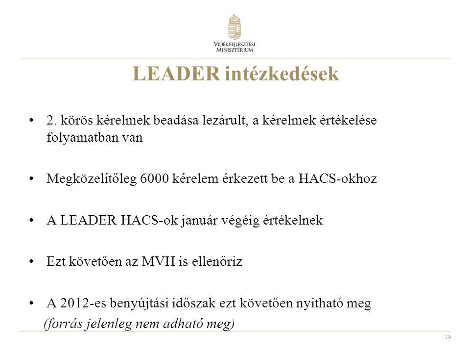 LEADER intézkedések 2. körös kérelmek beadása lezárult, a kérelmek értékelése folyamatban van. Megközelítőleg 6000 kérelem érkezett be a HACS-okhoz.