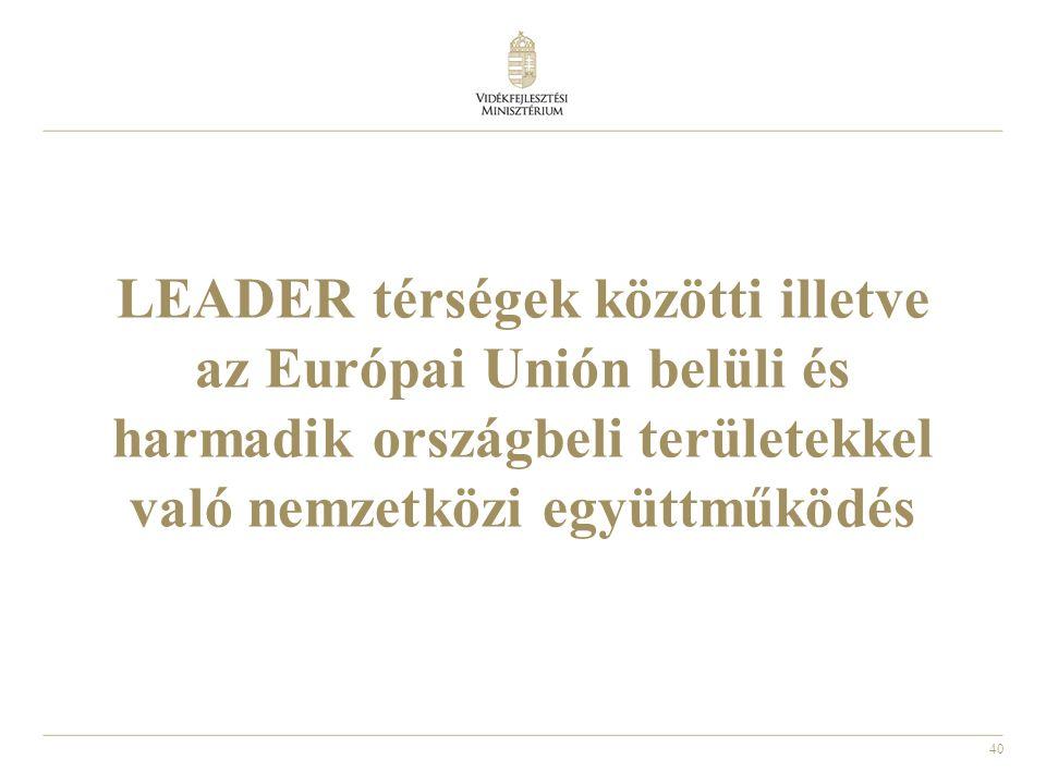 LEADER térségek közötti illetve az Európai Unión belüli és harmadik országbeli területekkel való nemzetközi együttműködés