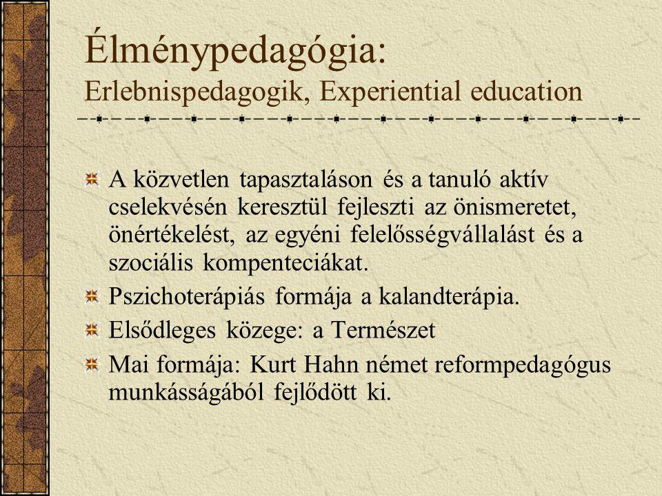 Élménypedagógia: Erlebnispedagogik, Experiential education