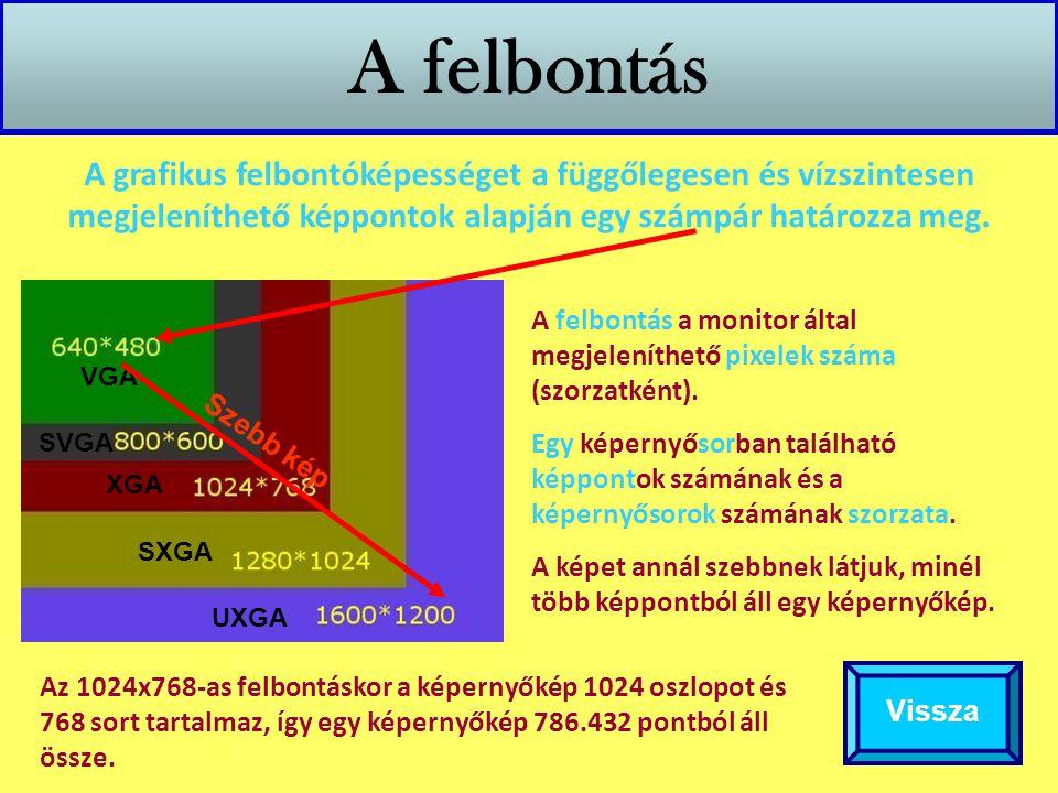 A felbontás A grafikus felbontóképességet a függőlegesen és vízszintesen megjeleníthető képpontok alapján egy számpár határozza meg.