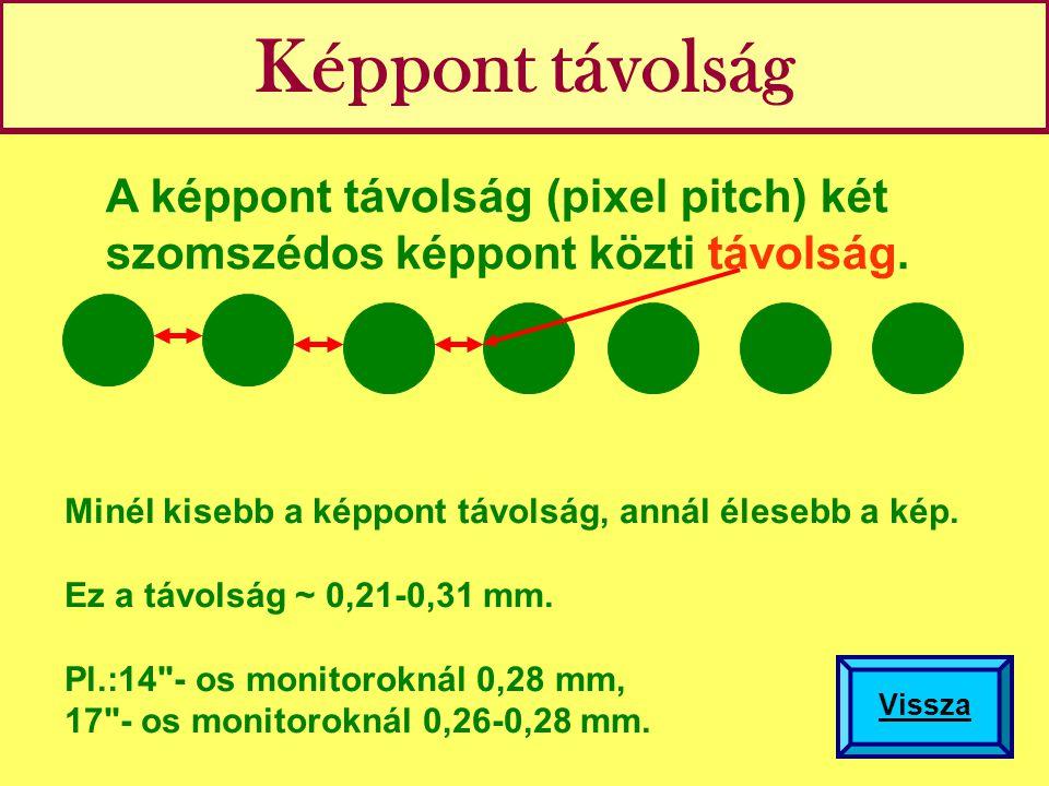 Képpont távolság A képpont távolság (pixel pitch) két szomszédos képpont közti távolság.