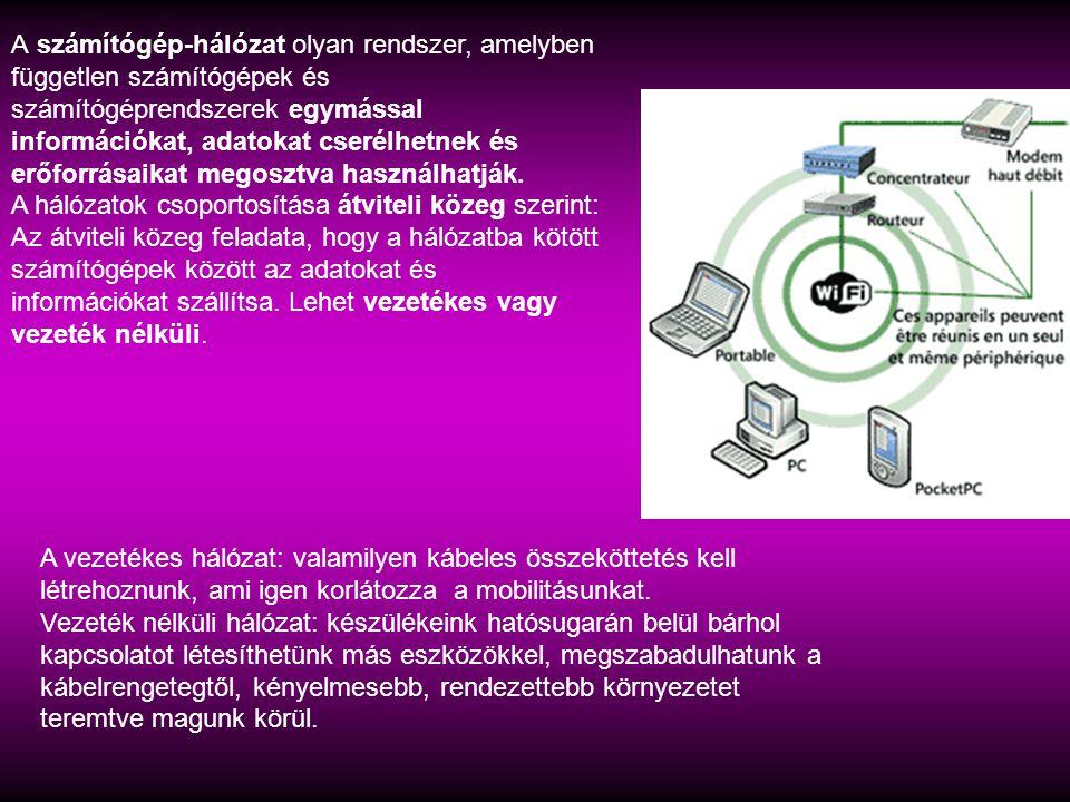 A számítógép-hálózat olyan rendszer, amelyben független számítógépek és számítógéprendszerek egymással információkat, adatokat cserélhetnek és erőforrásaikat megosztva használhatják.