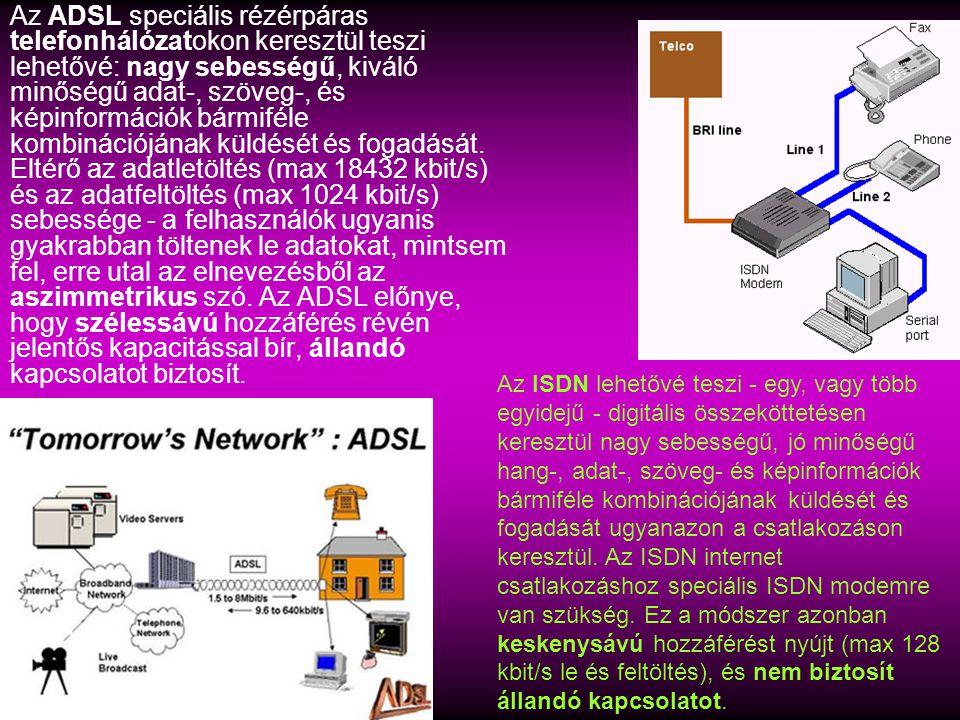 Az ADSL speciális rézérpáras telefonhálózatokon keresztül teszi lehetővé: nagy sebességű, kiváló minőségű adat-, szöveg-, és képinformációk bármiféle kombinációjának küldését és fogadását. Eltérő az adatletöltés (max 18432 kbit/s) és az adatfeltöltés (max 1024 kbit/s) sebessége - a felhasználók ugyanis gyakrabban töltenek le adatokat, mintsem fel, erre utal az elnevezésből az aszimmetrikus szó. Az ADSL előnye, hogy szélessávú hozzáférés révén jelentős kapacitással bír, állandó kapcsolatot biztosít.