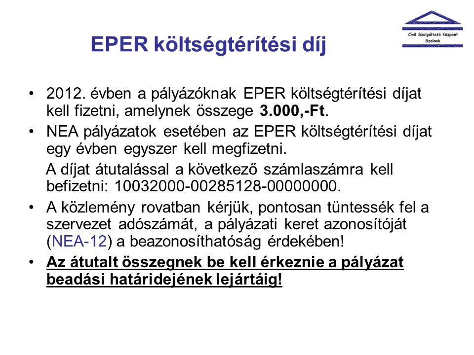 EPER költségtérítési díj