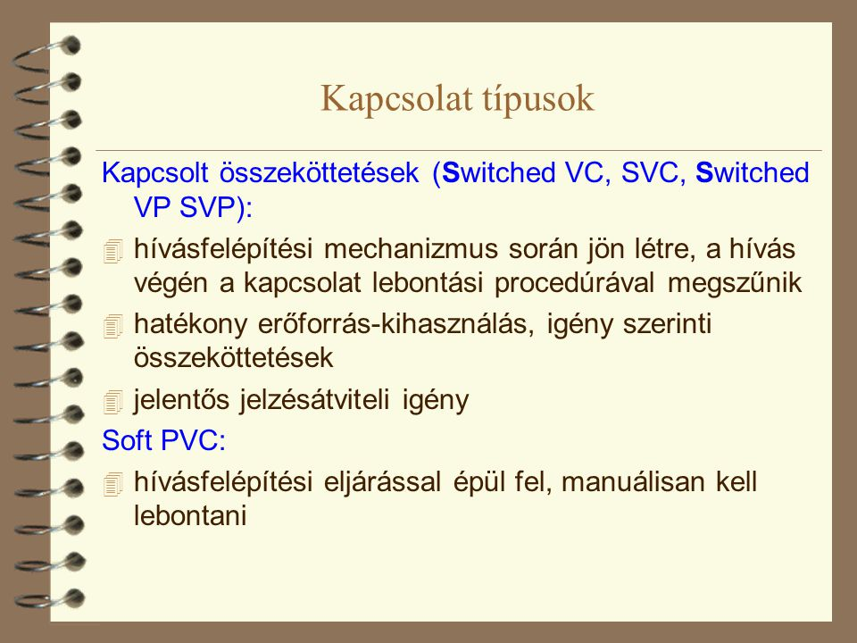 Kapcsolat típusok Kapcsolt összeköttetések (Switched VC, SVC, Switched VP SVP):