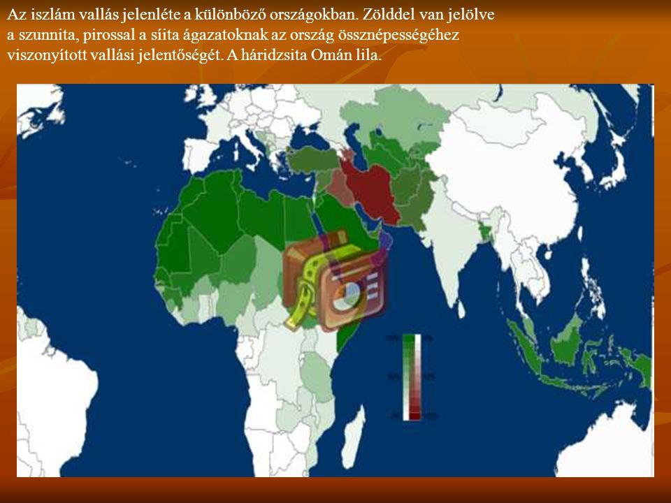 Az iszlám vallás jelenléte a különböző országokban