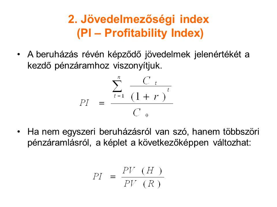 2. Jövedelmezőségi index (PI – Profitability Index)