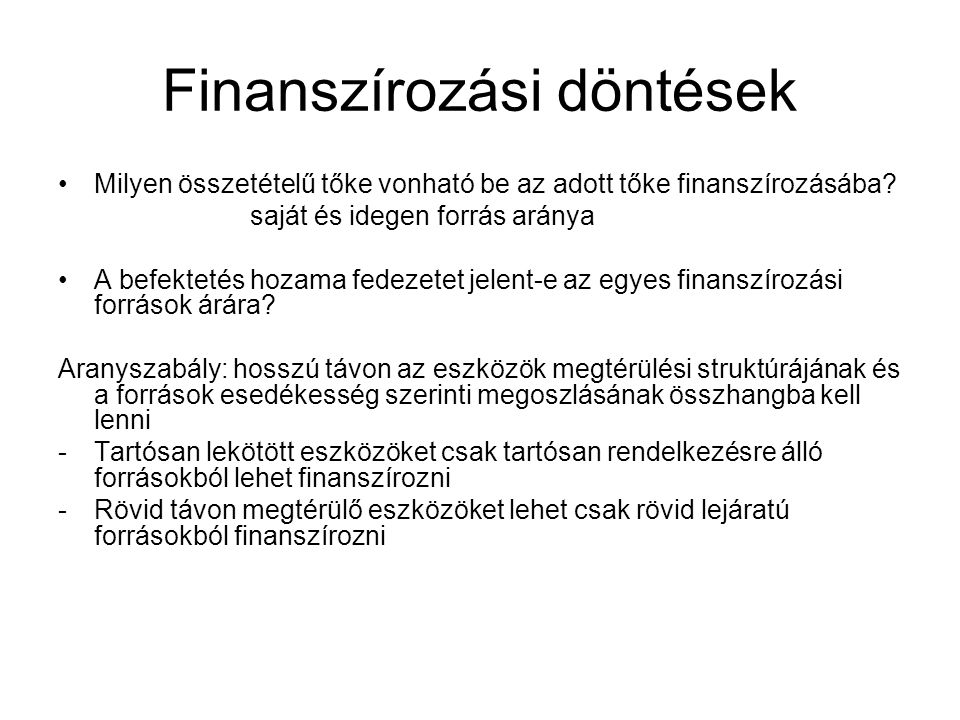 Finanszírozási döntések