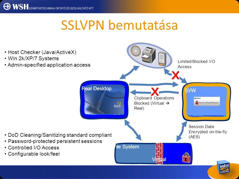 SSLVPN bemutatása Host Checker (Java/ActiveX) Win 2k/XP/7 Systems