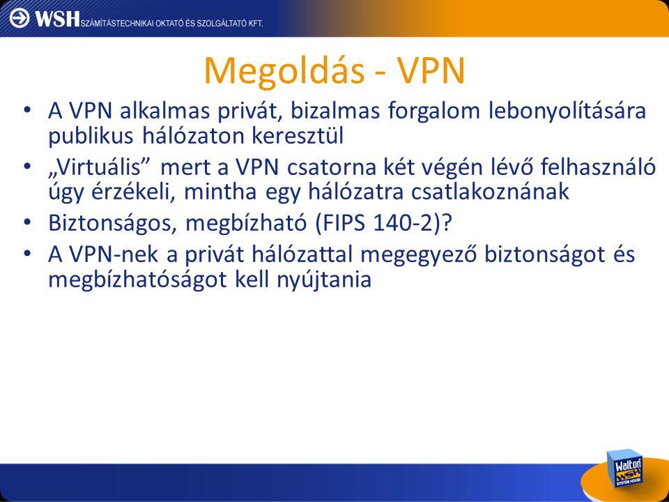 Megoldás - VPN A VPN alkalmas privát, bizalmas forgalom lebonyolítására publikus hálózaton keresztül.