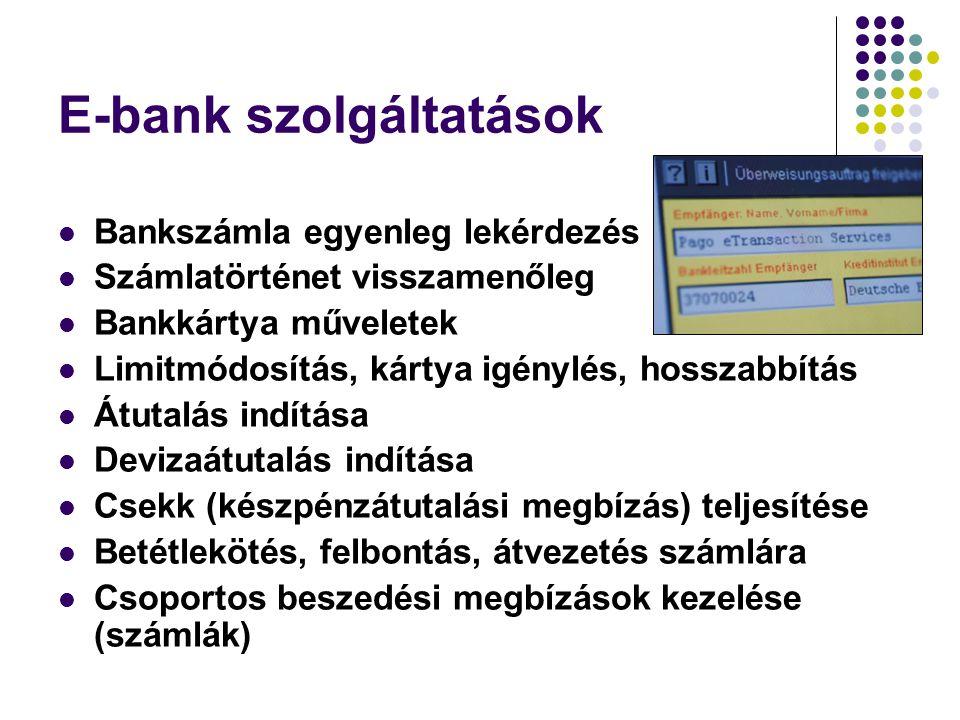 E-bank szolgáltatások