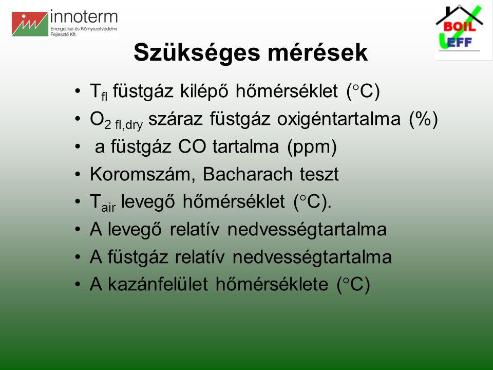 Szükséges mérések • Tfl füstgáz kilépő hőmérséklet (°C)