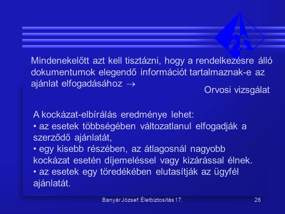 Banyár József: Életbiztosítás 17.