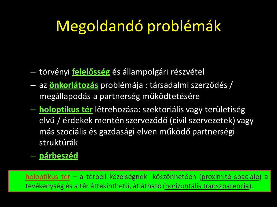 Megoldandó problémák A képviseleti és a részvételi demokrácia ellentmondásainak feloldása: törvényi felelősség és állampolgári részvétel.