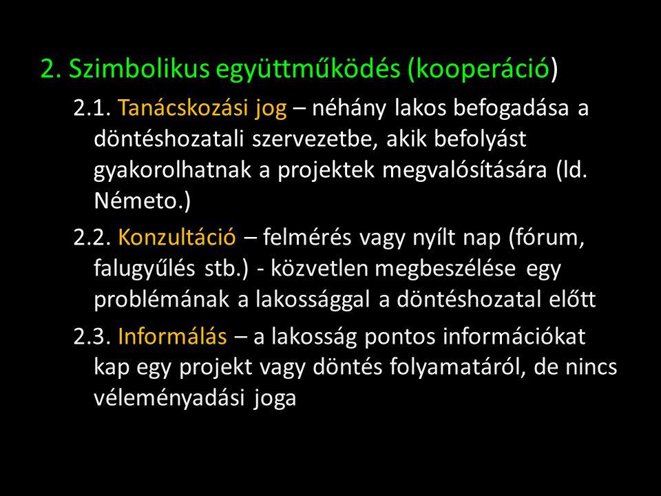 2. Szimbolikus együttműködés (kooperáció)