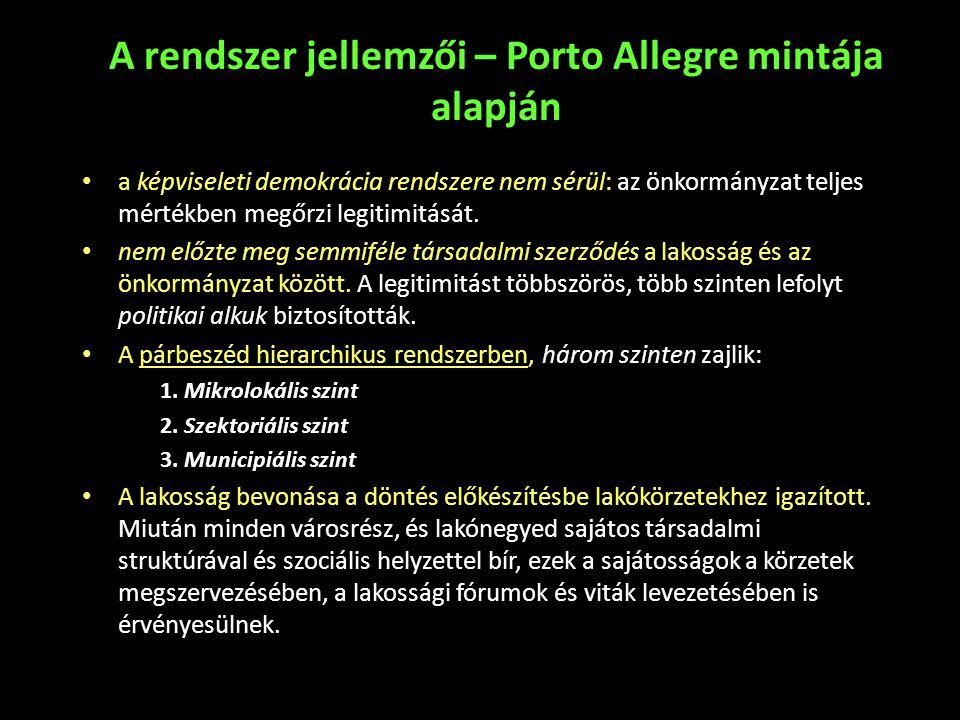 A rendszer jellemzői – Porto Allegre mintája alapján
