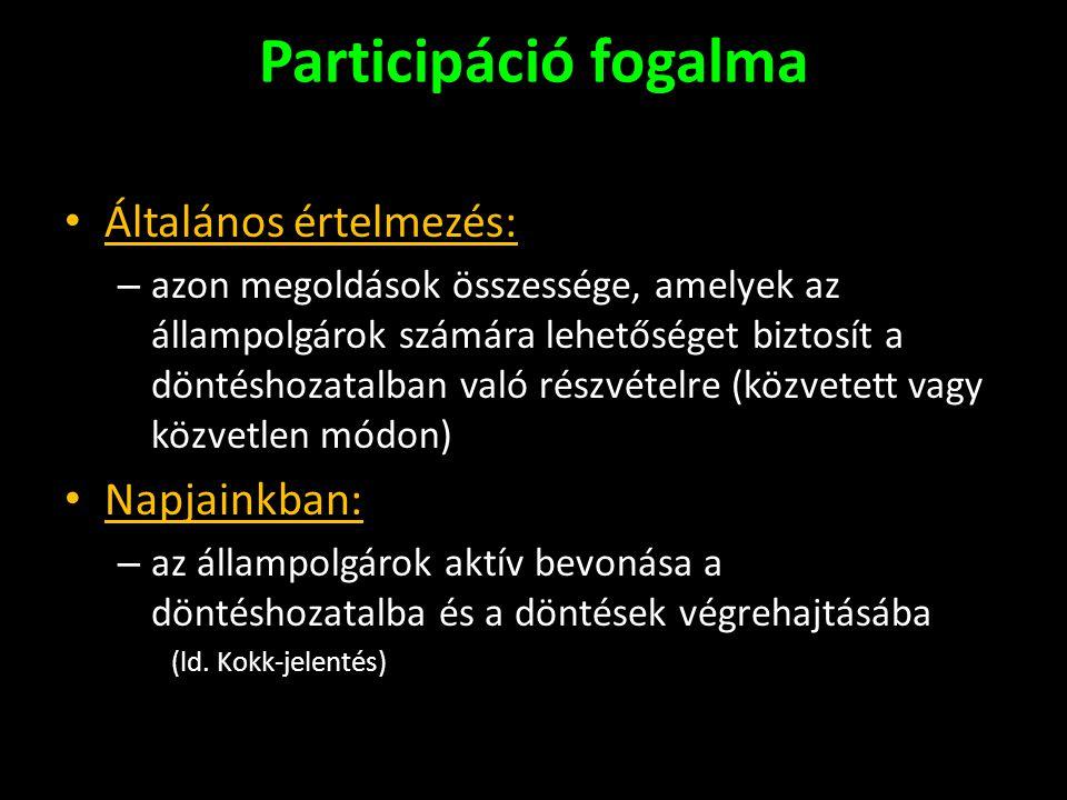 Participáció fogalma Általános értelmezés: Napjainkban: