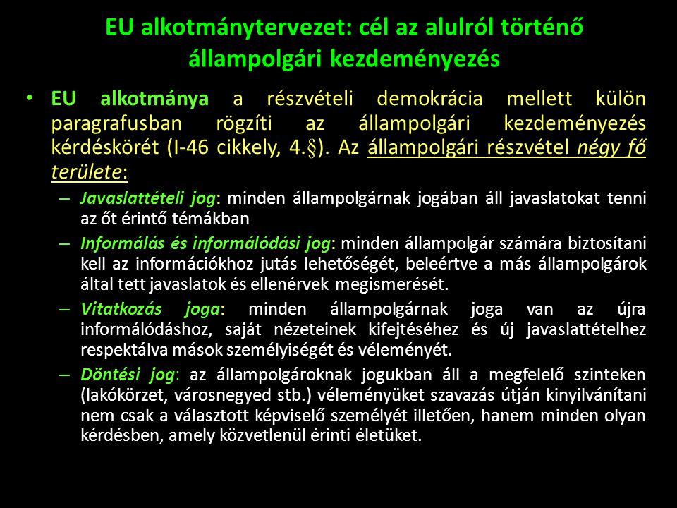 EU alkotmánytervezet: cél az alulról történő állampolgári kezdeményezés