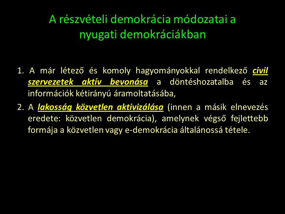 A részvételi demokrácia módozatai a nyugati demokráciákban