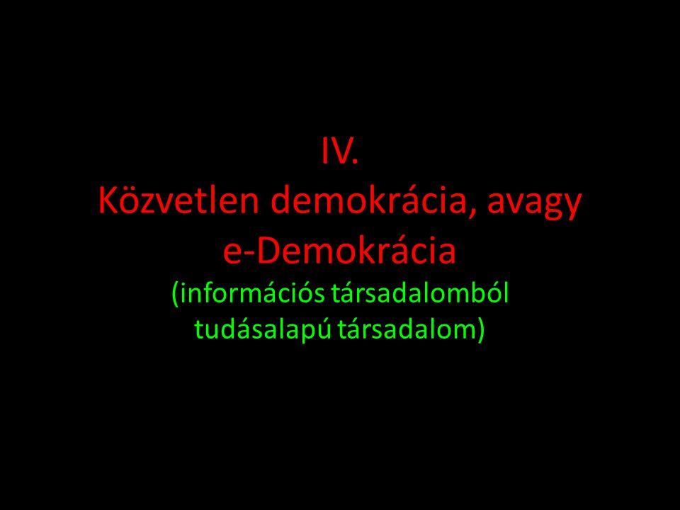IV. Közvetlen demokrácia, avagy e-Demokrácia (információs társadalomból tudásalapú társadalom)