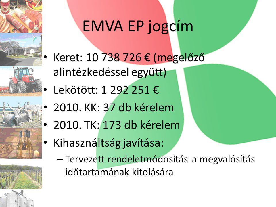 EMVA EP jogcím Keret: 10 738 726 € (megelőző alintézkedéssel együtt)