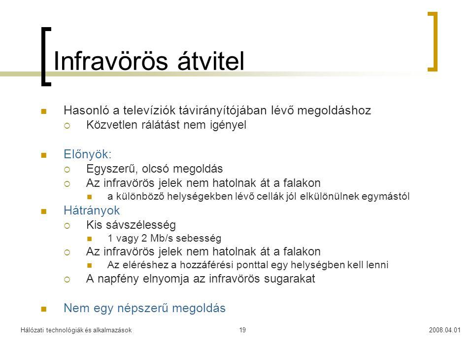 Infravörös átvitel Hasonló a televíziók távirányítójában lévő megoldáshoz. Közvetlen rálátást nem igényel.