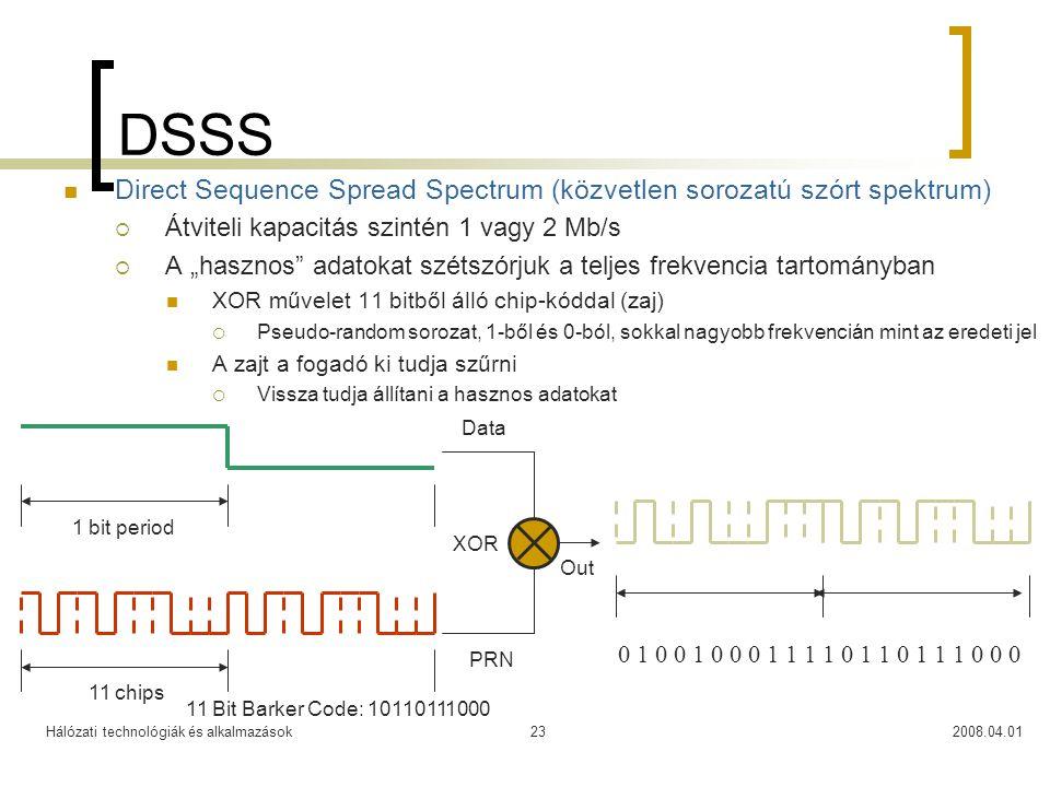 DSSS Direct Sequence Spread Spectrum (közvetlen sorozatú szórt spektrum) Átviteli kapacitás szintén 1 vagy 2 Mb/s.