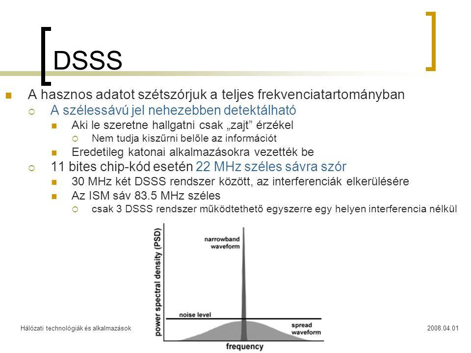 DSSS A hasznos adatot szétszórjuk a teljes frekvenciatartományban