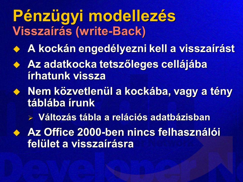Pénzügyi modellezés Visszaírás (write-Back)
