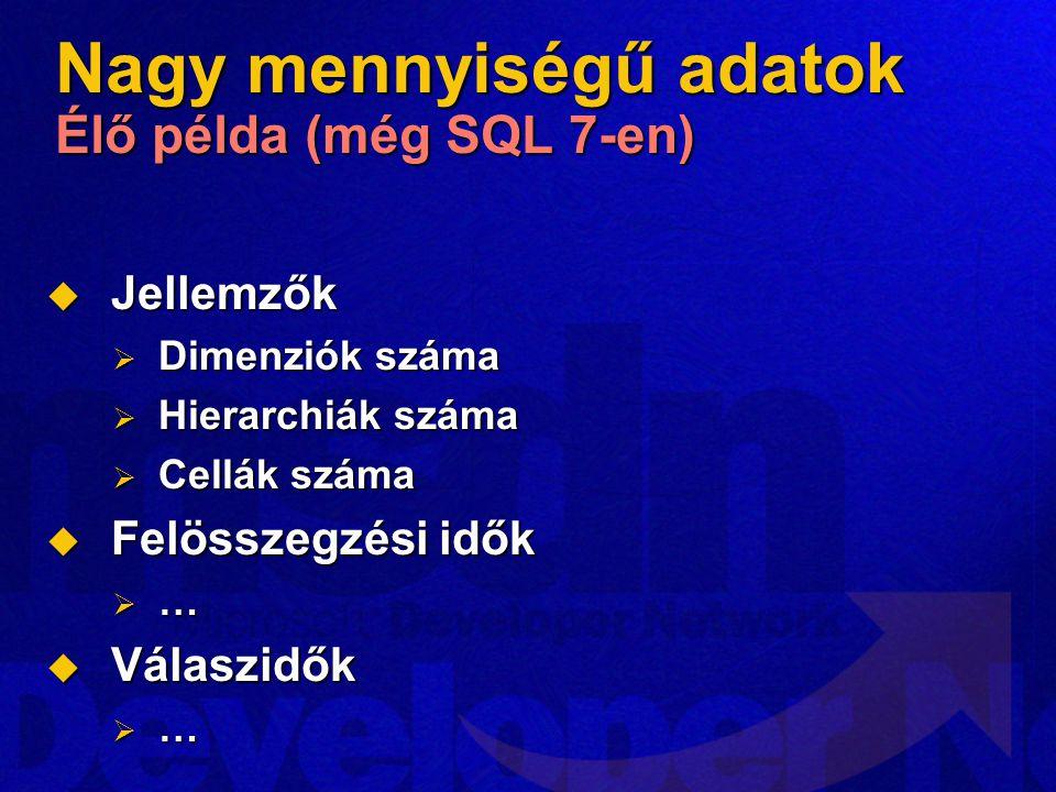 Nagy mennyiségű adatok Élő példa (még SQL 7-en)
