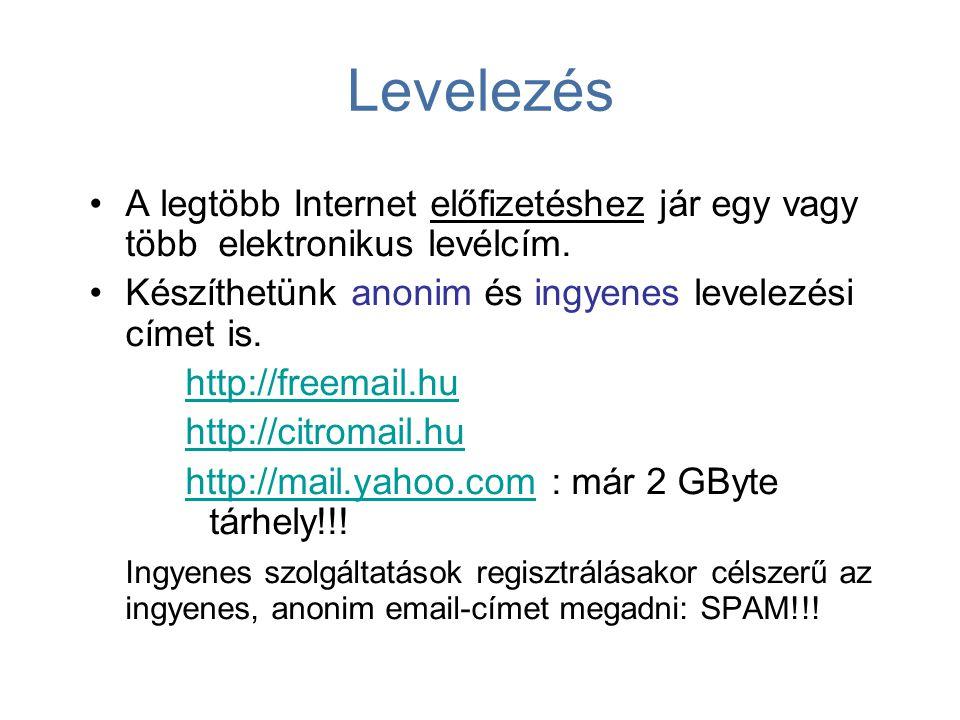 Levelezés A legtöbb Internet előfizetéshez jár egy vagy több elektronikus levélcím. Készíthetünk anonim és ingyenes levelezési címet is.