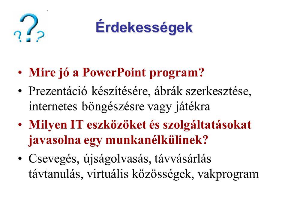 Érdekességek Mire jó a PowerPoint program