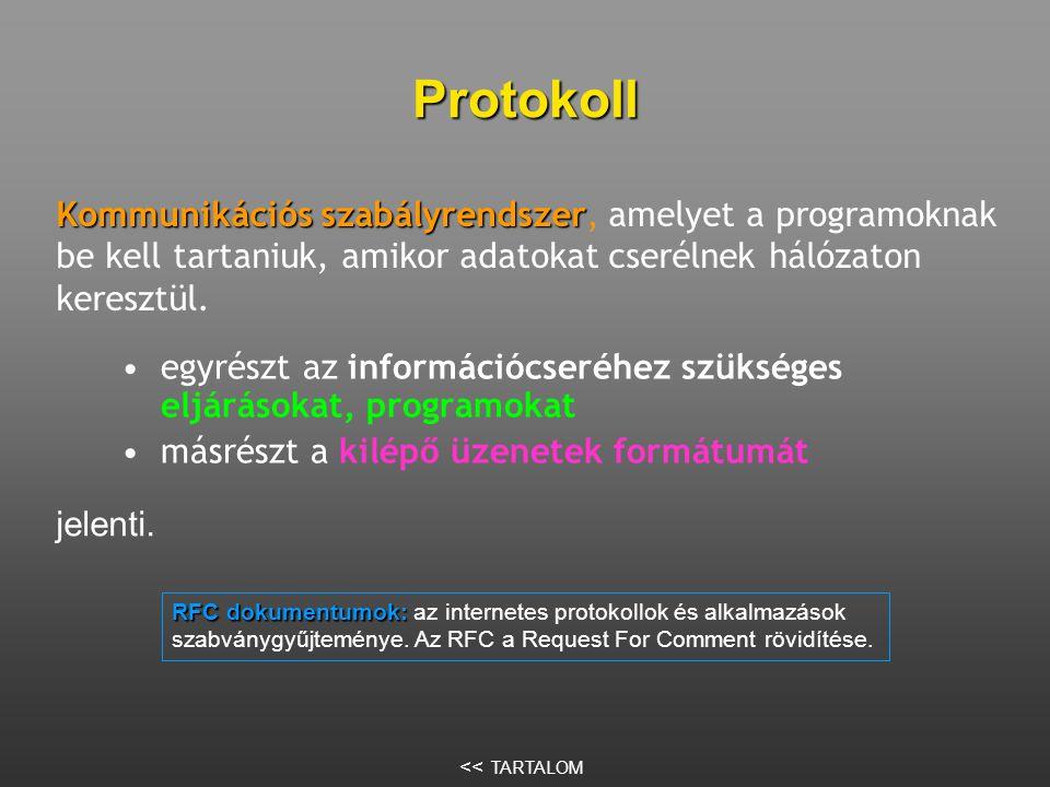 Protokoll Kommunikációs szabályrendszer, amelyet a programoknak be kell tartaniuk, amikor adatokat cserélnek hálózaton keresztül.