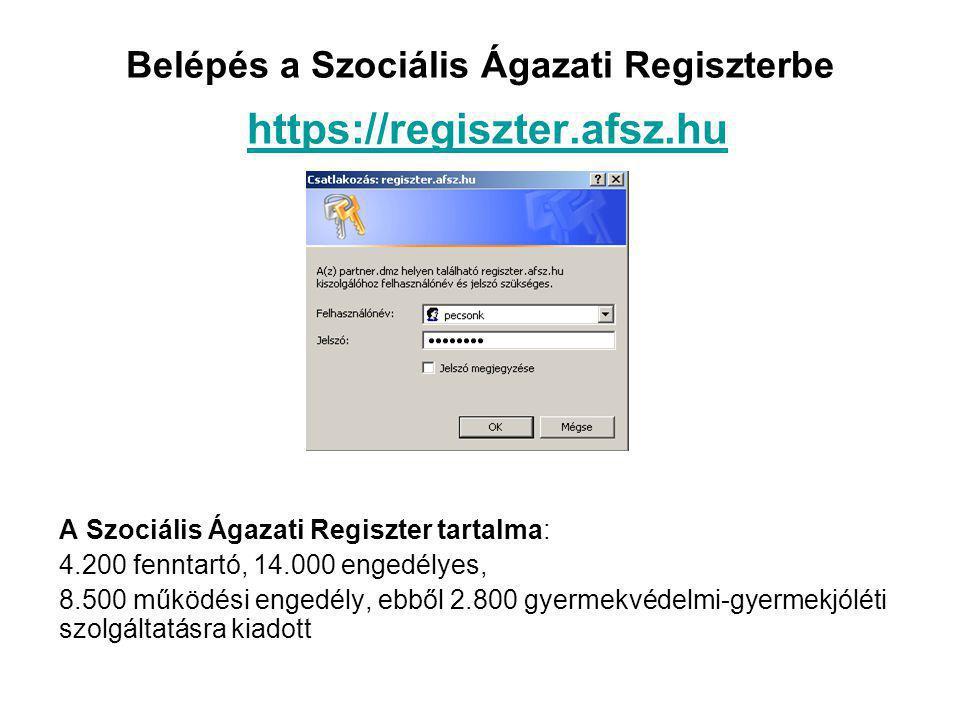 Belépés a Szociális Ágazati Regiszterbe https://regiszter.afsz.hu