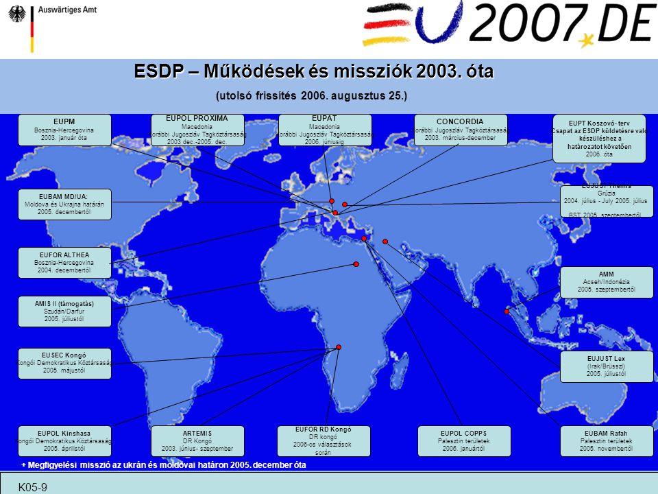 ESDP – Működések és missziók 2003. óta