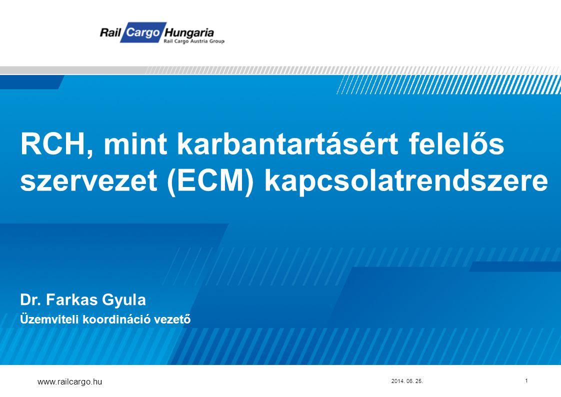 RCH, mint karbantartásért felelős szervezet (ECM) kapcsolatrendszere