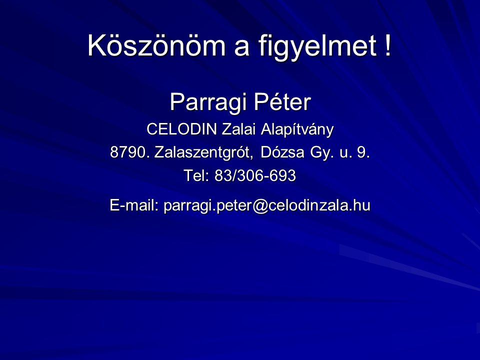 Köszönöm a figyelmet ! Parragi Péter CELODIN Zalai Alapítvány