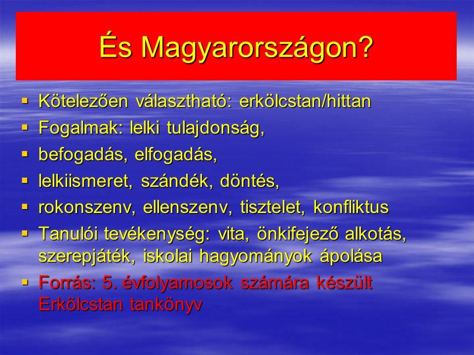 És Magyarországon Kötelezően választható: erkölcstan/hittan