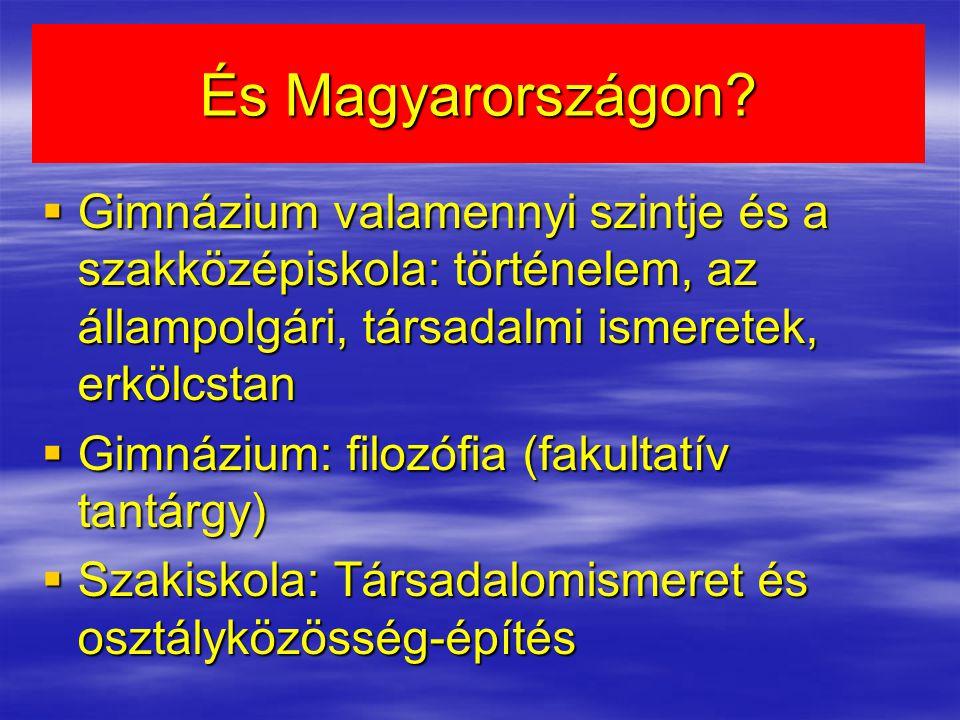 És Magyarországon Gimnázium valamennyi szintje és a szakközépiskola: történelem, az állampolgári, társadalmi ismeretek, erkölcstan.