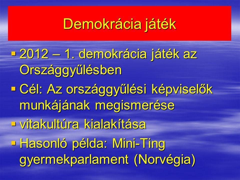 Demokrácia játék 2012 – 1. demokrácia játék az Országgyűlésben