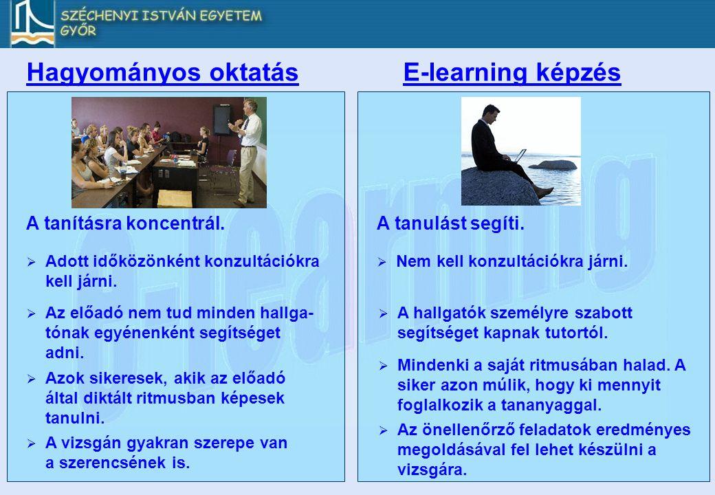 Hagyományos oktatás E-learning képzés A tanításra koncentrál.